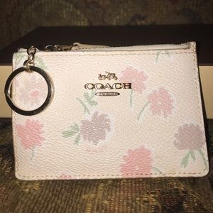 Coach White Floral Cardholder Key Pouch